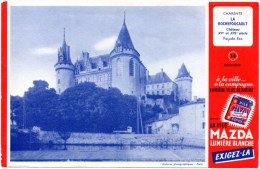 Buvard Publicitaire : Pile Mazda. Illustration : Château La Rochefoucault En Charente. - Piles