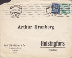 Germany Deutsches Reich RUD. SCHELLECKES & Co., CREFELD 1925 Cover Brief HELSINGFORS Finland Adler & Rheinland Stamps - Deutschland