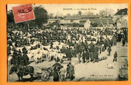 MNG-26  Digoin Le Champ De Foire, Attelage, TRES ANIME. Cachet Frontal 1907 Pour Lagny - Digoin