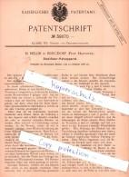 Original Patent - H. Mellin In Burgdorf , Prov. Hannover , 1886 ,  Stahlfeder-Putzapparat , Feder , Federhalter !!! - Federn