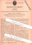 Original Patent - E. Luchs In Nürnberg , 1886 ,  Selbstthätige Umsteuerung An Spiel-Fahrzweugen !!! - Antikspielzeug