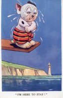 [DC8853] STUDDY GEORGES ILLUSTRATORE BONZO - I'M HERE TO STAY! - 5516 - Viaggiata - Original Old Postcard - Cani