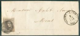 N°10A - Médaillon 10 Centimes Brun, Margé Et Grand Voisin Obl. P.22 Sur Lettre De BRAINE-le-COMTE Le 9 Avril 1859 Vers M - 1858-1862 Medallions (9/12)