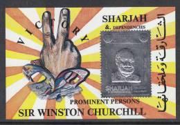 Sharjah  Sir Winston Churchill  1v  Silver Foil Metal Sheet #23673 S - Sir Winston Churchill