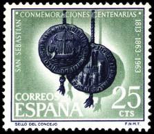 ESPAÑA SEGUNDO CENTENARIO NUEVO Nº 1516 ** 25C VERDE Y VIOLETA SAN SEBASTIAN - 1961-70 Neufs