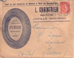 CHARENTE MARITIME - JONZAC - ENVELOPPE PUBLICITE - PNEU - REMISE A NEUF PNEUMATIQUE - FUROR - L. CHAINTRIER - 1928 - Cars
