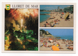 Espagne--LLORET DE MAR--Multivues (feu D'artifice,plage)  Cpm N°154 éd  Cedosa - Gerona