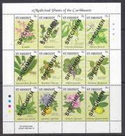 """St. Vincent 1992 Medicinal Plants Of The Caribbean 12v In Sheetlet """"SPECIMEN"""" ** Mnh (F3521) - St.Vincent (1979-...)"""