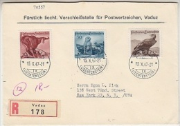 Liechtenstein 1947 Jagd III 3v Registred FDC To New York (F3523) - FDC
