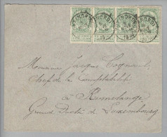 Belgien 1898-11-05 Ruy (Nord) Brief Nach Rumelange Lux. Mit 4-er Streifen - Belgique