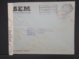 BELGIQUE-Enveloppe De Bruxelles Pour Paris En 1941 Avec Bande De Controle  Aff Mécanique  à Voir   P6086 - Belgium