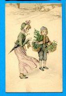 LIP356, Femme Et Enfant Dans La Neige, Sapin, Panier, Circulée 1922 Sous Enveloppe - Fancy Cards