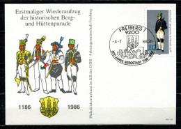 "DDR 1986 Sonderkarte/Card Freiberg-Hüttenparade,the Miner Mi.Nr.2318.u.SST""FREIBERG-800 Jahre Bergstadt ""1 Beleg - Factories & Industries"
