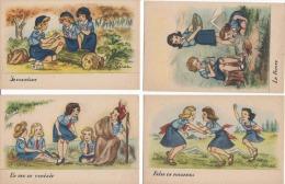 Scoutisme  Illustrateur   J. Idrac Quatre Cartes Sur La Vie Des Guides - Scoutisme