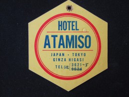 HOTEL MOTOR HOSTEL INN LODGE PENSION ATAMISO TOKYU TOKYO JAPAN LUGGAGE LABEL ETIQUETTE KOFFERAUFKLEBER DECAL STICKER - Etiketten Van Hotels
