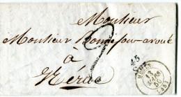 SOS Lot Et Garonne Cursive 45 SOS + CAD MEZIN 13.3.1850 + Taxe 2 Décimes   ...  - G - Marcophilie (Lettres)