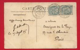 Type Blanc - 2 X 5 Centimes - Facteur Boitier - Belloy (Dept 95) - 1905 Sur Carte Postale - 1900-29 Blanc