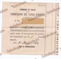 (*) 1912 - Ricevuta Civico Cimitero - Portico Lazzaretto - SALO´ - Lago Di Garda - Italia