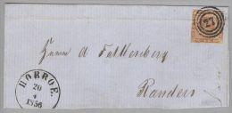 Dänemark 1856-04-20 Horroe Brief Mit Mi#4 3-Ringstempel Nach Randers - 1851-63 (Frederik VII)