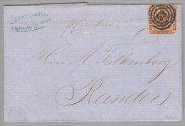 Dänemark 1855-05-10 Kopenhagen (Randers) Brief Mit Mi#4 Nach Randers 3-Ring-O#53 - 1851-63 (Frederik VII)