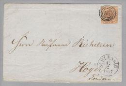 Dänemark 1857-02-12 Schleswig Brief Mit Mi#4 Nach Hoyer 3-Ring-O #66 - 1851-63 (Frederik VII)