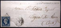 CACHET Type 15A + PC 1303 + T 15 Nogent-s-seine  --  FONTAINEBLEAU  --  SEINE ET MARNE  --  LAC  --  1856 - 1849-1876: Classic Period