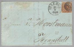 Dänemark 1859-09-21 Itzehoe Brief Mit Mi#7a 3-Ringstempel #119 Nach Hennstedt - 1851-63 (Frederik VII)