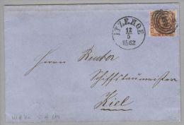Dänemark 1862-05-12 Itzehoe Briefhülle Mit Mi#7a 3-Ring-O #119 Nach Kiel - 1851-63 (Frederik VII)