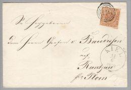 Dänemark 1858-06-14 Kiel Mit Mi#4 3-Ring-Stempel #121 Briefhülle Nach Rantzau - 1851-63 (Frederik VII)