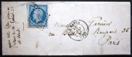 CACHET Type 15 + PC 1495  --  LE HAVRE  --  MSEINE INF.  --  LAC  --  1858 - 1849-1876: Période Classique