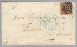 Dänemark 1860-09-19 Viborg R-Brief Mit Mi#7a Angeschnitten 3-Ring-O N.Sonderhoe - 1851-63 (Frederik VII)