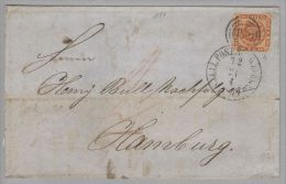 Dänemark 1859-04-21 Sjaell Postsped.büro Brief Mit Mi#7a 3-Ring-O 181 N.Hamburg - 1851-63 (Frederik VII)