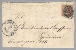 Dänemark 1853-09-26 Middelfart Brief Mit Mi#1IIa 3k-Ring-O #42 Nach Kopenhagen - 1851-63 (Frederik VII)