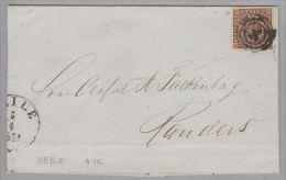 Dänemark 1851-04-05 Veile Brief Mit Mi#iI Mit 3-Ring-O #76 Nach Randers - 1851-63 (Frederik VII)