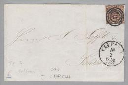 Dänemark 1854-02-16 Capplen Brief Mit Mi#1IIa 3-Ring-O #11 Nach Schleswig - 1851-63 (Frederik VII)