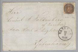 Dänemark 1854-09-10 Randers Brief Mit Mi#1IIb 3-Ring-O #53 Nach Kopenhagen - 1851-63 (Frederik VII)