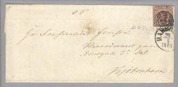Dänemark 1853-04-26 Haderslev Brief Mit Mi#1IIa 3-Ring-O #23 Nach Kopenhagen - 1851-63 (Frederik VII)
