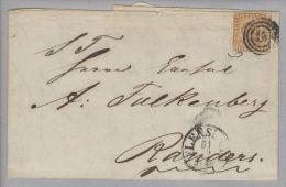 Dänemark 1854-12-29 Flensburg Brief Mit Mi#1IIb 3-Ring Stempel 16 Nach Randers - 1851-63 (Frederik VII)