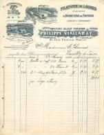 FACTURE LETTRE : PARIS . PHILIPPE VIALLAR ET CIE . FILATURE DE LAINE . 1910 . - France