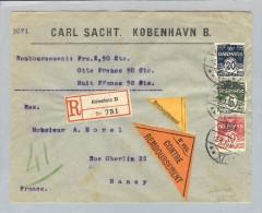 Dänemark 1913-04-02 R-Nachnahme-Brief Kopenhagen Nach Nancy France - 1913-47 (Christian X)