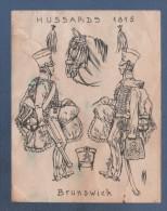 FICHE POUR UNIFORME DE FIGURINE SEGOM OU HISTOREX - HUSSARDS DE BRUNSWICK 1815 - Militaires