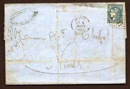 LETTRE CLASSIQUE FRANCE- TIMBRE EMISSION DE BORDEAUX N° 45 T II R3-20ct ND- 3 SCANS - Poststempel (Briefe)