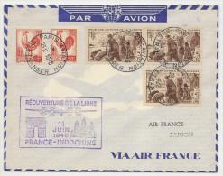 Lettre Réouverture De La Ligne France Indochine Le 11 Juin 1946 (type Coq) Et Journée Du Timbre, Beau Document - Premiers Vols