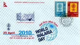 WORLD MALARIA DAY COMMEMORATIVE COVER NEPAL 2010 MINT CONDITION - Disease