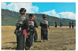 Laos Northern Yao Tribal Women In Traditional Dress Vintage Postcard Stamps 1971 - Laos