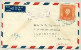 Nederlands Indië - 1947 - Deviezencontrole Op LP Brief Met 2,5 Gulden Zegel Naar USA - Netherlands Indies
