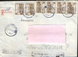 """Romania - Registered  Letter Circulated In1992 - Franking """" Rich """"  - 2/scans - Covers & Documents"""