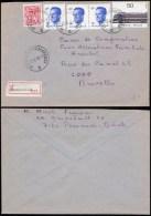 Lettre  recommand�e de P�ronnes ( Charbonnages ) � Bruxelles 1985