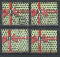 BELGIE JAAR 2014  4 ZEGELS UIT BOEKJE EINDEJAARS WAARDE 1 - Used Stamps