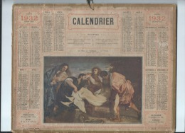 Calendrier /Postes Et Téléphone/ La Mise Au Tombeau - Le Titien/Oberthur/ 1932   CAL203 - Calendriers